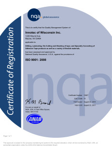 Innotec of WI, Inc. ISO 9001 Certificate