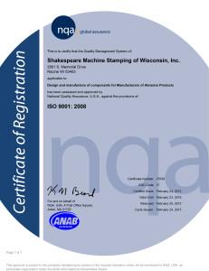Shakespeare's ISO 9001 Certificate