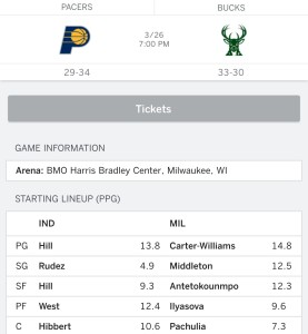 March 26: Milwaukee Bucks vs. Indiana Packers