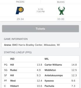 March 26: Milwaukee Bucks vs. Indiana Packers
