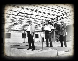 ACE's Founder James W. Haarsma I, James' son Ronald Haarsma, and William Tempke (Original Employee of ACE) overlooking ACE's first building expansion in Racine, WI.